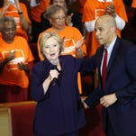Sen. Corey Booker, D-N.J., introduces Democratic presidential candidate Hillary Clinton at a campaign event at the Cumberland United Methodist Church in Florence, S.C., Thursday.