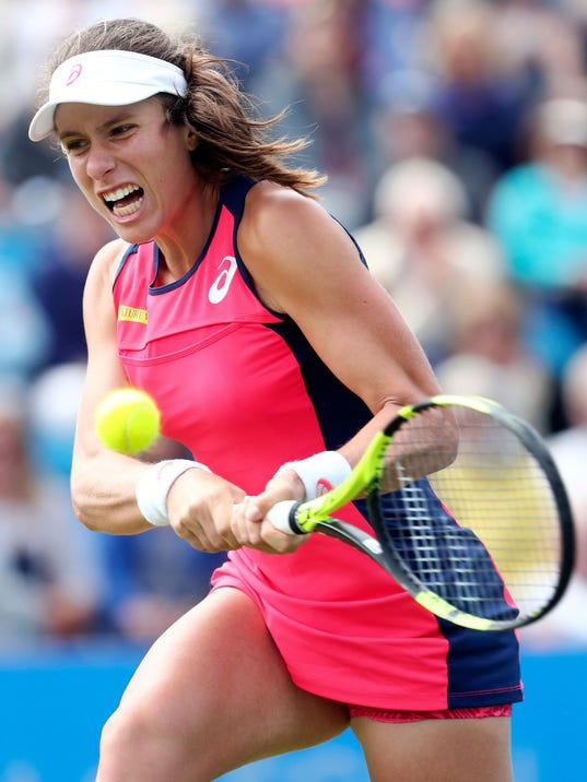 Britain's Joanna Konta  in action during her match against Latvia's Jelena Ostapenko t the AEGON International tennis tournament  at Devonshire Park, Eastbourne, England Thursday June 29, 2017. (Gareth Fuller/PA via AP)