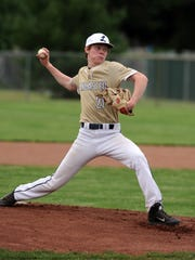 Lancaster's Garrett Davis pitches during Tuesday's game, May 15, 2018, against Dublin Jerome at Hamilton Township High School in Obetz. The Golden Gales won the district semifinal game 5-4.