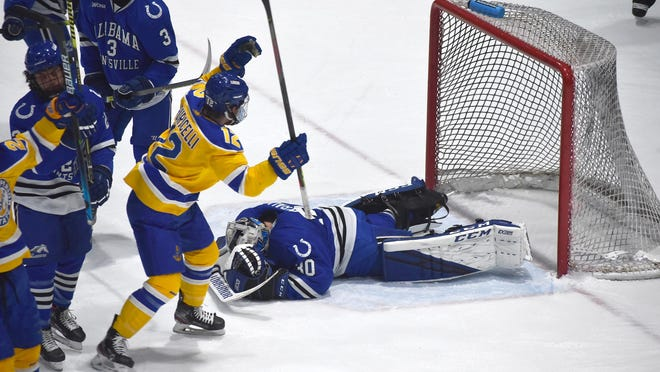 Lake Superior State's Brandon Puricelli (12) earned his second goal of the season on Sunday in the Lakers 3-2 win over Alabama Huntsville. LSSU also tied the Chargers 2-2 on Saturday.