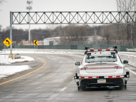 Visteon tests a driverless car at the American Center for Mobility's proving ground.