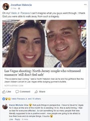 Friends and family left numerous support messages on Valdo Panzera Jr.'s Facebook page after he and girlfriend Megan Iannuzzi escaped unharmed from the mass shooting in Las Vegas on Sunday night.