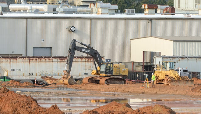 Construction at the Electrolux plant in Anderson  February 8, 2018.