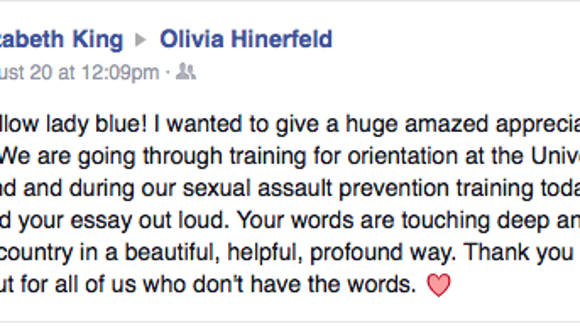 Facebook message to Olivia Hinerfeld.