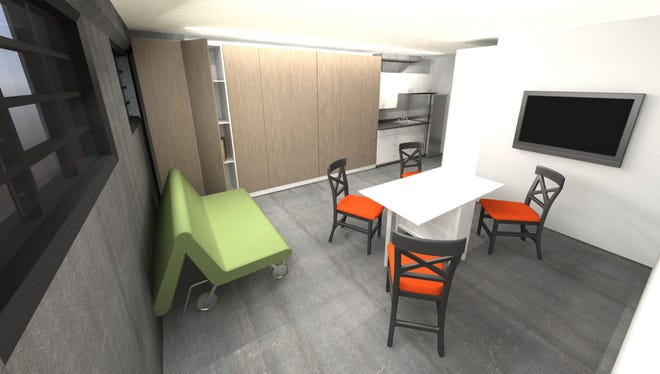 A rendering of one of the 16 planned micro-apartment in the forthcoming Walbridge Common development in Kalamazoo. The units will be 320 square feet and rent for $500 per month.