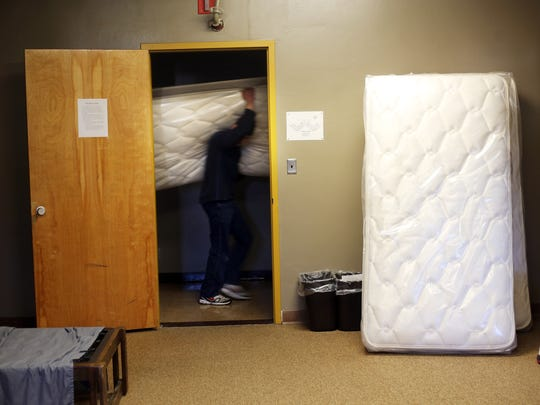 One hundred specially designed mattresses are delivered to the dormitories of the Oregon School for the Deaf.