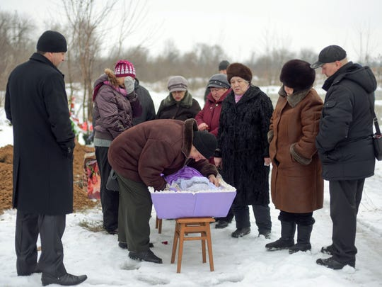 A funeral ceremony is held on Feb. 6, 2017, for Elena