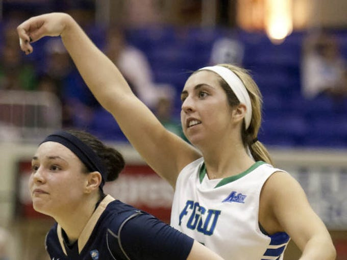 FGCU'S Stephanie Haas makes a 3-point basket against ETSU on Thursday at Alico Arena.