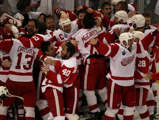 The Red Wings celebrate their 3-2 victory in Pittsburgh to win the Stanley Cup in Game 6 in 2008.