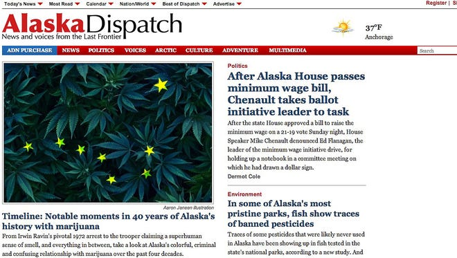 The homepage of the April 14, 2014, edition of the Alaska Dispatch. The website recently bought the Anchorage Daily News.