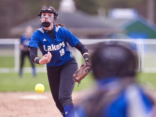 Colchester pitcher Riley Magoon fires to the plate against Middlebury last season.