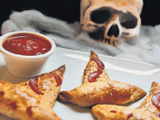 Crescent rolls, salami sticks and pepperoni make these Abracadabra Hats. Perfect for dipping.
