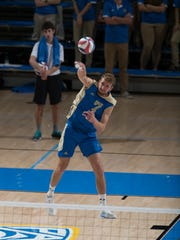Mitch Stahl, who was a star volleyball player for Chambersburg, said that one of his biggest improvements since being at UCLA Is his serve.