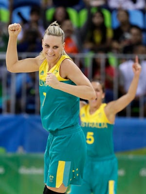 Australia guard Penny Taylor reacts after hitting one of the last shots during Australia's come from behind victor over Japan in a women's basketball game at the Youth Center at the 2016 Summer Olympics in Rio de Janeiro, Brazil, Thursday, Aug. 11, 2016. Australia defeated Japan 92-86.