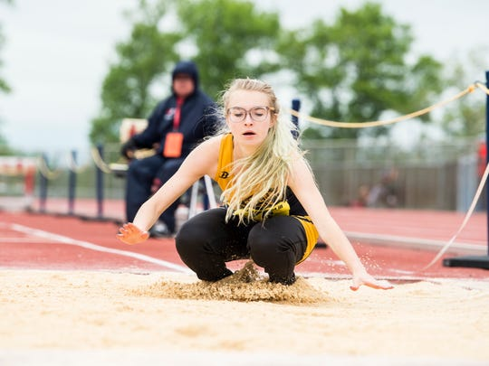 Eastern York's Taylor Currier competes in the triple jump during the PIAA District 3 track and field championships at Shippensburg University on Saturday, May 20, 2017. Currier came in first place in the girls' 2A competition.