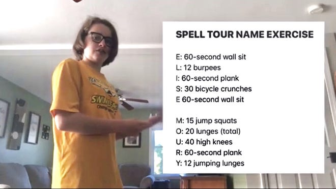"""Seventh-grade Sizer School student Elise Moury of Winchendon took her video assignment to the next level, not only recording her """"Elise Moury"""" workout routine but including text, graphics, music and more."""