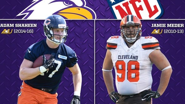 Former Ashland University Eagles Adam Shaheen (Chicago Bears) and Jamie Meder (Cleveland Browns) were on the same NFL field Thursday night in Chicago.