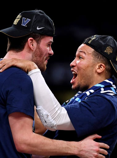 Villanova Wildcats guard Jalen Brunson (1) celebrates after beating the Michigan Wolverines in the championship game of the 2018 men's Final Four at Alamodome.