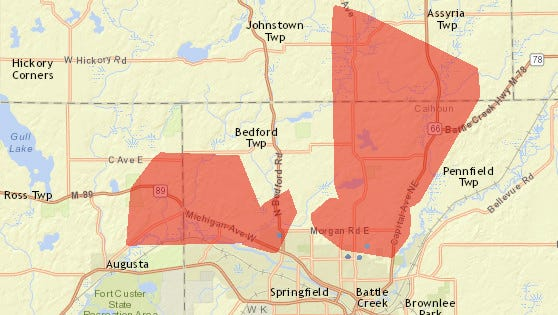 Area of power outage as reported by Consumers Energy.