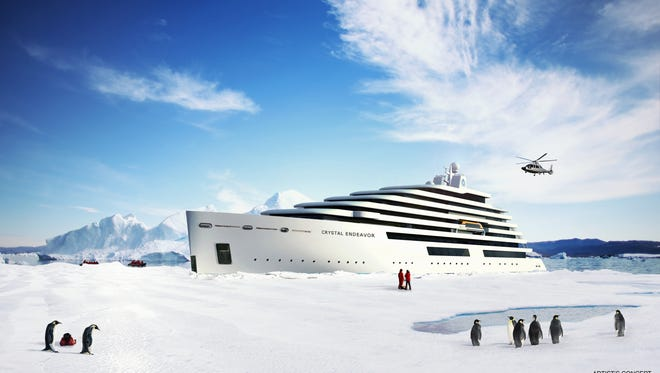 An artist's drawing of an expedition cruise ship planned for Crystal Cruises.