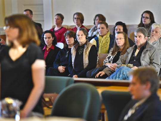 The family of Christopher Cafferky looks on as Jeanette Maxfield pleads no contest in Vermont Superior Court in Hyde Park on Tuesday to a charge of second-degree murder in his 2014 death.