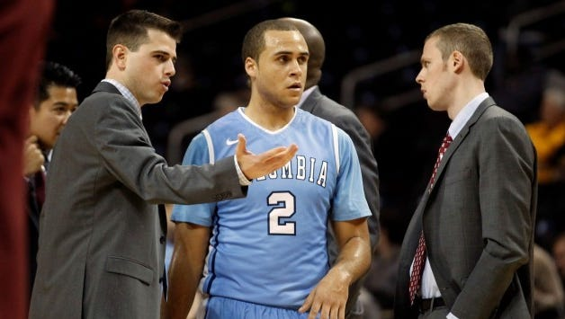 Todd Golden (left), shown here during his one season as an assistant coach at Columbia, is reportedly leaving Auburn to be the associate head coach at the University of San Francisco.