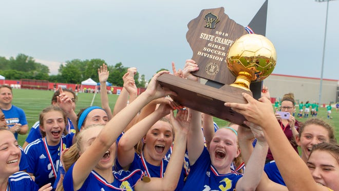 Kenosha St. Joseph players celebrate their 2-1 victory over Cedar Grove-Belgium in the Division 4 championship game Saturday.