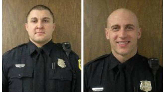 Senior Police Officers Joshua Judge (right), and Tyson Teut (left) resigned from the Des Moines Police Department.