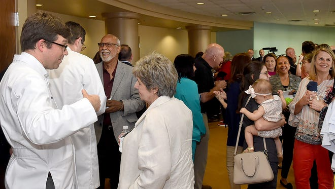 A large crowd gathers at Opelousas General  Health System South Campus for the grand opening Thursday of Centre de la Vie, a comprehensive cancer center.