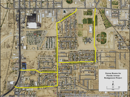The City of Alamogordo has provided a detour map for residents in the South Florida Avenue area. Starting Monday, Feb. 20, S. Florida will be closed from Arapho Trail to First Street.