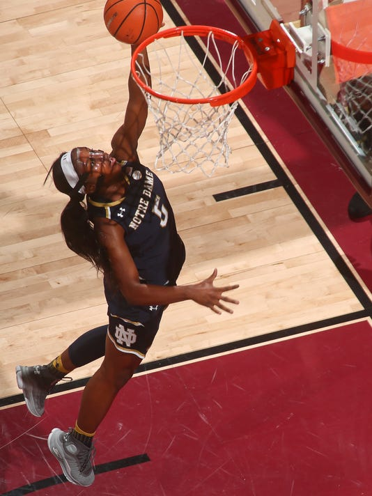 Notre Dame guard Jackie Young (5) makes a layup in the first quarter of an NCAA college basketball game against Florida State, Sunday, Jan. 28, 2018, in Tallahassee, Fla. (AP Photo/Phil Sears)