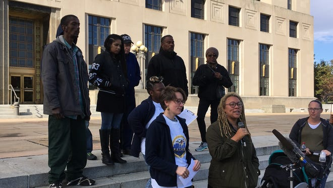 Members of the People's Alliance for Transit, Housing and Employment gathered Wednesday to criticize Mayor Megan Barry's $5.2 billion transit plan.