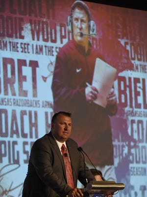 Arkansas coach Bret Bielema told a packed room of media at the Wynfrey Hotel on Wednesday that the team's 7-6 record from 2014 won't go far in the loaded SEC West.
