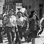 Eliseo Medina, left, and Latina organizer Dolores Huerta, right, at a United Farm Worker march in Chicago, Illinois,1971. Huerta is one of many Latinos interviewed in the 'Latino Americans' documentary, which will be shown at the West Lafayette Public Library and on Purdue University's campus as part of a national program to highlight Latino history.