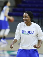 FGCU's DyTiesha Dunson practices Wednesday at Alico Arena in Fort Myers. FGCU will play Oklahoma State on Saturday in the NCAA tournament.