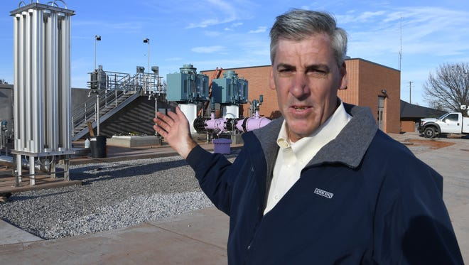 City of Wichita Falls director of public works, Russell Schreiber, talks about the city's new IPR water system Tuesday afternoon located at the River Road Wastewater plant.