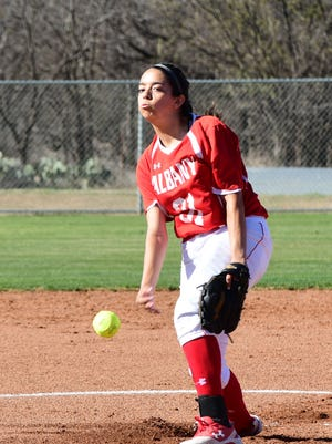 Albany pitcher Reyna Garcia throws a pitch during her two-hit, 5-0 shutout of Haskell on Tuesday, March 20, 2018.
