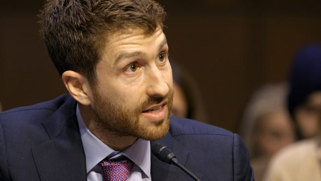 """Former Google design ethicist and co-founder of the Center for Humane Technology Tristan Harris testifies before the U.S. Senate in the documentary """"The Social Dilemma."""""""