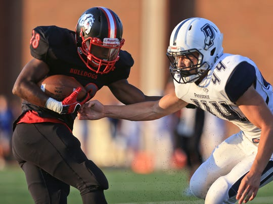 New Albany's Darquan Richardson had 83 yards and two touchdowns on 16 carries against Providence Aug. 18.