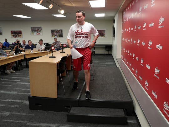 Indiana University men's basketball coach Archie Miller leaves the podium following a press conference at Assembly Hall Tuesday, July 11, 2017, in Bloomington.