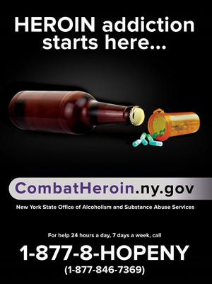 """The Combat Heroin poster that will appear at select Lower Husdon train stations and malls as part of the campaign's """"next phase,"""" a monthlong media blitz."""