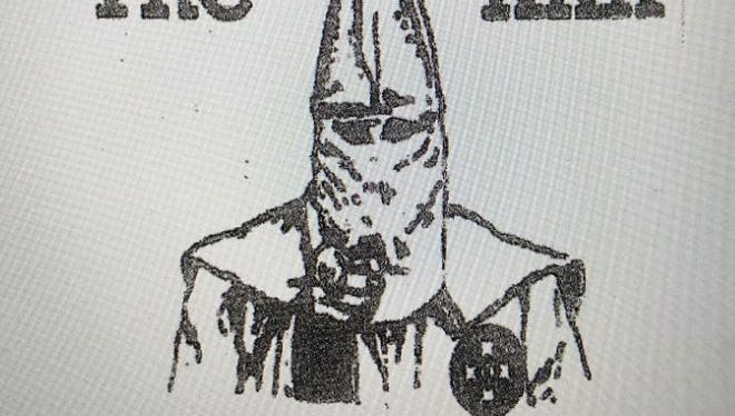 A hooded figure likely posed as Uncle Sam is depicted on the KKK fliers popping up around Grant County.