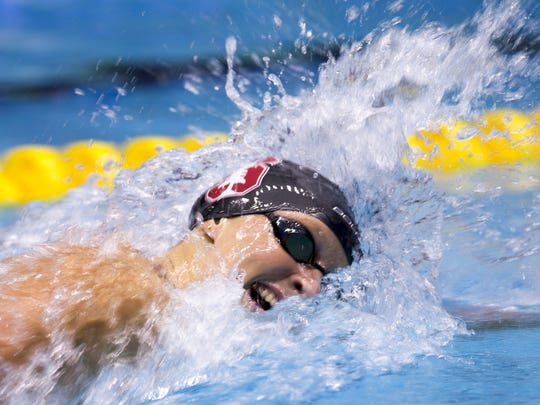 Katie Ledecky wraps up her win in the 400 meter freestyle,