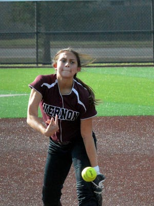 Vernon junior Jade Guzman pitches during Game 1 of the Lady Lions' Region I-4A finals series with Andrews on Thursday at Abilene Christian University. Guzman led the Lady Lions to an 8-7 victory.