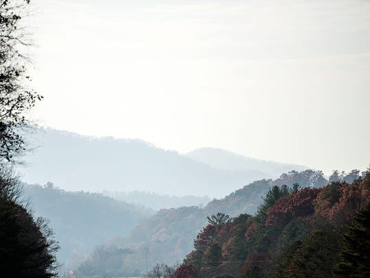 Smoke from the Western NC forest fires creates a hazy