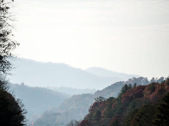 Smoke from the Western NC forest fires creates a hazy landscape over the mountains.