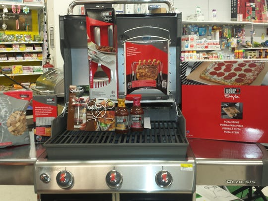A display of grilling accessories at Ace Hardware in Rockaway.