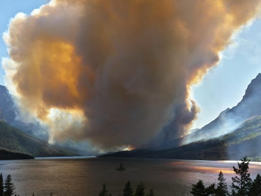 Firefighters responded to a wildland fire near Grizzly Point on the east side of Going-to-the-Sun Road in Glacier National Park on Tuesday afternoon. This photo was taken at Wild Goose Island Overlook looking west toward Logan Pass.
