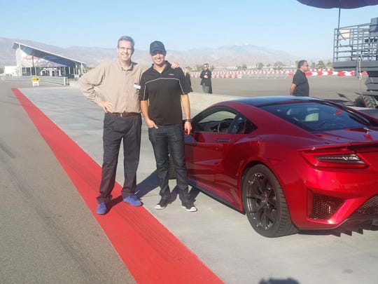 Detroit News' auto columnist Henry Payne rides shotgun in the Acura NSX with Indy star Graham Rahal at California's Thermal Speedway.