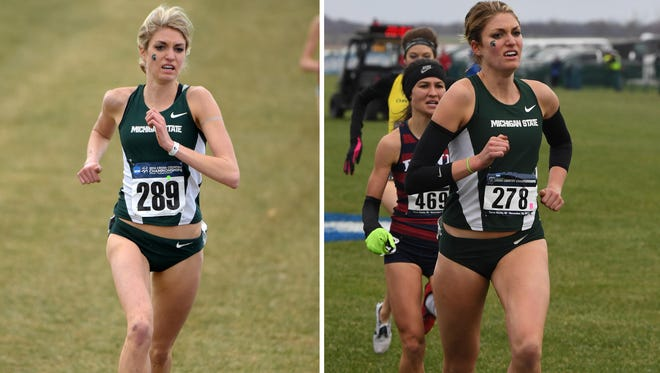 MSU runner Rachele Schulist competing in the 2014 NCAA Division I Championships (left) and in the 2016 NCAA championships (right).